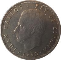 obverse of 25 Pesetas - Juan Carlos I - 1982 FIFA World Cup (1980) coin with KM# 818 from Spain. Inscription: JUAN CARLOS I REY DE ESPAÑA · 1980 ·