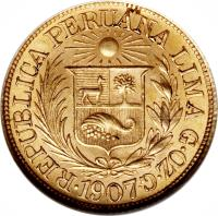 obverse of 1/2 Libra - Trade Coinage (1902 - 1969) coin with KM# 209 from Peru.