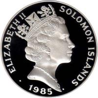 obverse of 5 Dollars - Elizabeth II - Decade for Women (1985) coin with KM# 22 from Solomon Islands. Inscription: ELIZABETH II SOLOMON ISLANDS 1985