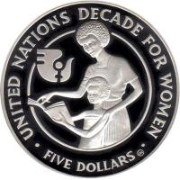 reverse of 5 Dollars - Elizabeth II - Decade for Women (1985) coin with KM# 22 from Solomon Islands. Inscription: UNITED NATIONS DECADE FOR WOMEN FIVE DOLLARS