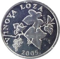 obverse of 2 Lipe - Croatian text (1993 - 2015) coin with KM# 4 from Croatia. Inscription: VINOVA LOZA 2001. KK
