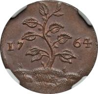 obverse of 1 Duit (1764) coin with KM# 8 from Suriname. Inscription: 17 64