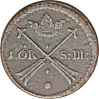 reverse of 1 Öre Silfwermynt - Carl XI (1669 - 1673) coin with KM# 264 from Sweden.
