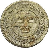 reverse of 4 Öre - Carl XI (1667 - 1675) coin with KM# 257 from Sweden. Inscription: FYRA ORE SOLFWER MYNT