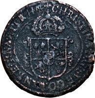 obverse of 1 Öre - Christina (1644 - 1653) coin with KM# 162 from Sweden. Inscription: CHRISTINA D:G:SVE: GO. WAN. REGINA. ET. PR: HAE