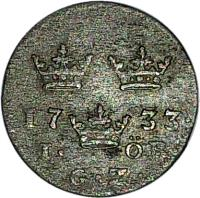 reverse of 1 Öre - Fredrik I (1720 - 1749) coin with KM# 382 from Sweden.