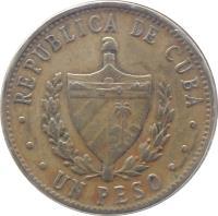 obverse of 1 Peso (1983 - 1989) coin with KM# 105 from Cuba. Inscription: REPUBLICA DE CUBA UN PESO