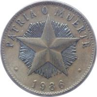 reverse of 1 Peso (1983 - 1989) coin with KM# 105 from Cuba. Inscription: PATRIA O MUERTE 1989