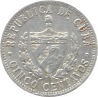 obverse of 5 Centavos (1963 - 2014) coin with KM# 34 from Cuba. Inscription: REPUBLICA DE CUBA · CINCO CENTAVOS ·