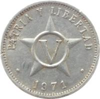 reverse of 5 Centavos (1963 - 2014) coin with KM# 34 from Cuba. Inscription: PATRIA Y LIBERTAD · 1971 ·