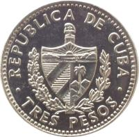 obverse of 3 Pesos - Che Guevara (1992 - 2002) coin with KM# 346a from Cuba. Inscription: REPUBLICA DE CUBA TRES PESOS