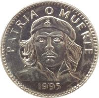 reverse of 3 Pesos - Che Guevara (1992 - 2002) coin with KM# 346a from Cuba. Inscription: PATRIA O MUERTE 1995