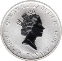 obverse of 1 Dollar - Elizabeth II - Nikolai Gogol (2009) coin with KM# 102 from Tuvalu. Inscription: QUEEN ELIZABETH II 1 DOLLAR TUVALU 2009 RDM