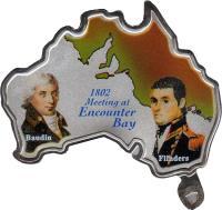 reverse of 5000 Shillings - Elizabeth II - Matthew Flinders & Baudin (2002) coin with KM# 98 from Uganda. Inscription: 1802 Meeting at Encounter Bay Baudin Flinders