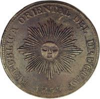 obverse of 20 Centésimos (1854 - 1855) coin with KM# 7 from Uruguay. Inscription: REPUBLICA ORIENTAL DEL URUGUAY 1855