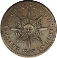obverse of 20 Centesimos (1840 - 1844) coin with KM# 2 from Uruguay. Inscription: REPUBLICA ORIENTAL DEL URUGUAY 1840