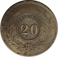 reverse of 20 Centesimos (1840 - 1844) coin with KM# 2 from Uruguay. Inscription: CENTESIMOS 20