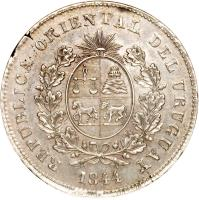obverse of 1 Peso (1844) coin with KM# 5 from Uruguay. Inscription: REPUBLICA ORIENTAL DEL URUGUAY 1844