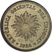 obverse of 1 Centesimo - Essai (1924) coin with KM# E5 from Uruguay. Inscription: REPUBLICA ORIENTAL DEL URUGUAY *1924*