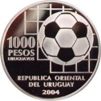 obverse of 1000 Pesos Uruguayos - 100th Anniversay of FIFA (2004) coin with KM# 125 from Uruguay. Inscription: 1000 PESOS URUGUAYOS REPUBLICA ORIENTAL DEL URUGUAY 2004