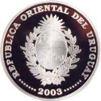 obverse of 1000 Pesos Uruguayos - XVIII World Soccer Championship (2003) coin with KM# 122 from Uruguay. Inscription: REPÚBLICA ORIENTAL DEL URUGUAY · · · · · · · 2003 · · · · · · ·