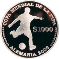 reverse of 1000 Pesos Uruguayos - XVIII World Soccer Championship (2003) coin with KM# 122 from Uruguay. Inscription: COPA MUNDIAL DE LA FIFA $ 1000 · · · · · · · · · · · ALEMANIA 2006 · · · · · · · · · · ·