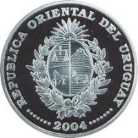 obverse of 1000 Pesos Uruguayos - XVIII World Soccer Championship (2004) coin with KM# 123 from Uruguay. Inscription: REPUBLICA ORIENTAL DEL URUGUAY · · · · · · · 2004 · · · · · · ·