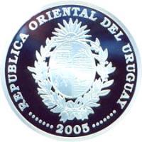 obverse of 1000 Pesos Uruguayos - XVIII World Soccer Championship (2005) coin with KM# 124 from Uruguay. Inscription: REPUBLICA ORIENTAL DEL URUGUAY · · · · · · · 2005 · · · · · · ·