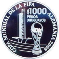 reverse of 1000 Pesos Uruguayos - XVIII World Soccer Championship (2005) coin with KM# 124 from Uruguay. Inscription: COPA MUNDIAL DE LA FIFA $ 1000 PESOS URUGUAYOS ALEMANIA 2006 (c) 1974 FIFA TM