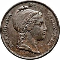 obverse of 1 Centavo (1843 - 1852) coin with Y# 3 from Venezuela.
