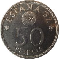 reverse of 50 Pesetas - Juan Carlos I - 1982 FIFA World Cup (1980) coin with KM# 819 from Spain. Inscription: ESPAÑA '82 82 50 PESETAS