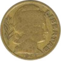 obverse of 20 Centavos (1942 - 1950) coin with KM# 42 from Argentina. Inscription: LIBERTAD 1943