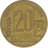 reverse of 20 Centavos (1942 - 1950) coin with KM# 42 from Argentina. Inscription: REPÚBLICA ARGENTINA 20 CENTAVOS