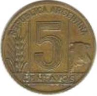 reverse of 5 Centavos (1942 - 1950) coin with KM# 40 from Argentina. Inscription: REPÚBLICA ARGENTINA 5 CENTAVOS