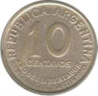 reverse of 10 Centavos - Reeded edge (1951 - 1952) coin with KM# 47 from Argentina. Inscription: REPUBLICA ARGENTINA 10 CENTAVOS 1951