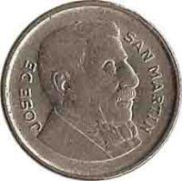 obverse of 10 Centavos - Smaller head; Plain edge (1954 - 1956) coin with KM# 51 from Argentina. Inscription: JOSE DE SAN MARTIN