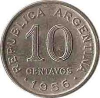 reverse of 10 Centavos - Smaller head; Plain edge (1954 - 1956) coin with KM# 51 from Argentina. Inscription: REPUBLICA ARGENTINA 10 CENTAVOS 1955