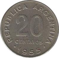 reverse of 20 Centavos - Smaller head; Plain edge (1954 - 1956) coin with KM# 52 from Argentina. Inscription: REPUBLICA ARGENTINA 20 CENTAVOS · 1955 ·