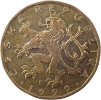 obverse of 20 Korun (1993 - 2017) coin with KM# 5 from Czech Republic. Inscription: ČESKÁ REPUBLIKA · 1999 ·