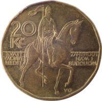 reverse of 20 Korun (1993 - 2017) coin with KM# 5 from Czech Republic. Inscription: 20 Kč SVATÝ VÁCLAVE NEDEJ ZAHYNOUT NÁM I BUDOUCÍM