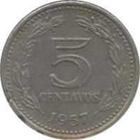 reverse of 5 Centavos (1957 - 1959) coin with KM# 53 from Argentina. Inscription: 5 CENTAVOS 1958