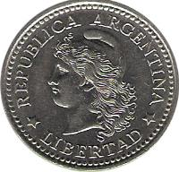 obverse of 10 Centavos (1957 - 1959) coin with KM# 54 from Argentina. Inscription: REPÚBLICA ARGENTINA * LIBERTAD *