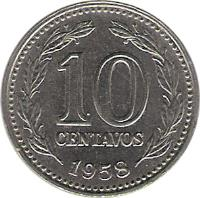 reverse of 10 Centavos (1957 - 1959) coin with KM# 54 from Argentina. Inscription: 10 CENTAVOS 1958