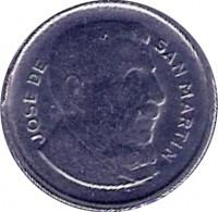 obverse of 5 Centavos - Smaller head; Plain edge (1954 - 1956) coin with KM# 50 from Argentina. Inscription: JOSE DE SAN MARTIN
