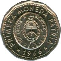 obverse of 25 Pesos - First National Coin (1964 - 1968) coin with KM# 61 from Argentina. Inscription: EN UNION Y LIBERTAD 1813 PRIMERA MONEDA PATRIA 1964