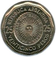 reverse of 25 Pesos - First National Coin (1964 - 1968) coin with KM# 61 from Argentina. Inscription: PROVINCIAS DEL RIO DE LA PLATA REPUBLICA ARGENTINA 25 25 VEINTICINCO PESOS