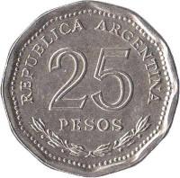 reverse of 25 Pesos - Faustino Sarmiento (1968) coin with KM# 63 from Argentina. Inscription: REPUBLICA ARGENTINA 25 PESOS