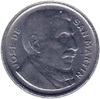 obverse of 10 Centavos - Larger head; Plain edge (1952 - 1953) coin with KM# 47a from Argentina. Inscription: JOSE DE SAN MARTIN