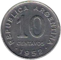 reverse of 10 Centavos - Larger head; Plain edge (1952 - 1953) coin with KM# 47a from Argentina. Inscription: REPUBLICA ARGENTINA 10 CENTAVOS .1952.