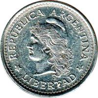 obverse of 1 Centavo (1970 - 1975) coin with KM# 64 from Argentina. Inscription: REPUBLICA ARGENTINA * LIBERTAD *